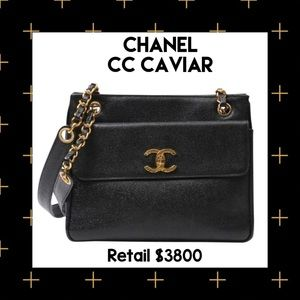 CHANEL cc Logos Caviar Double Chain Shoulder Bag
